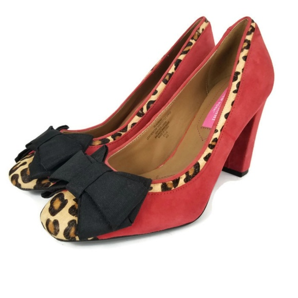 95631f58d75a Isaac Mizrahi Shoes | Red Suede Leopard Print Pumps 65 | Poshmark